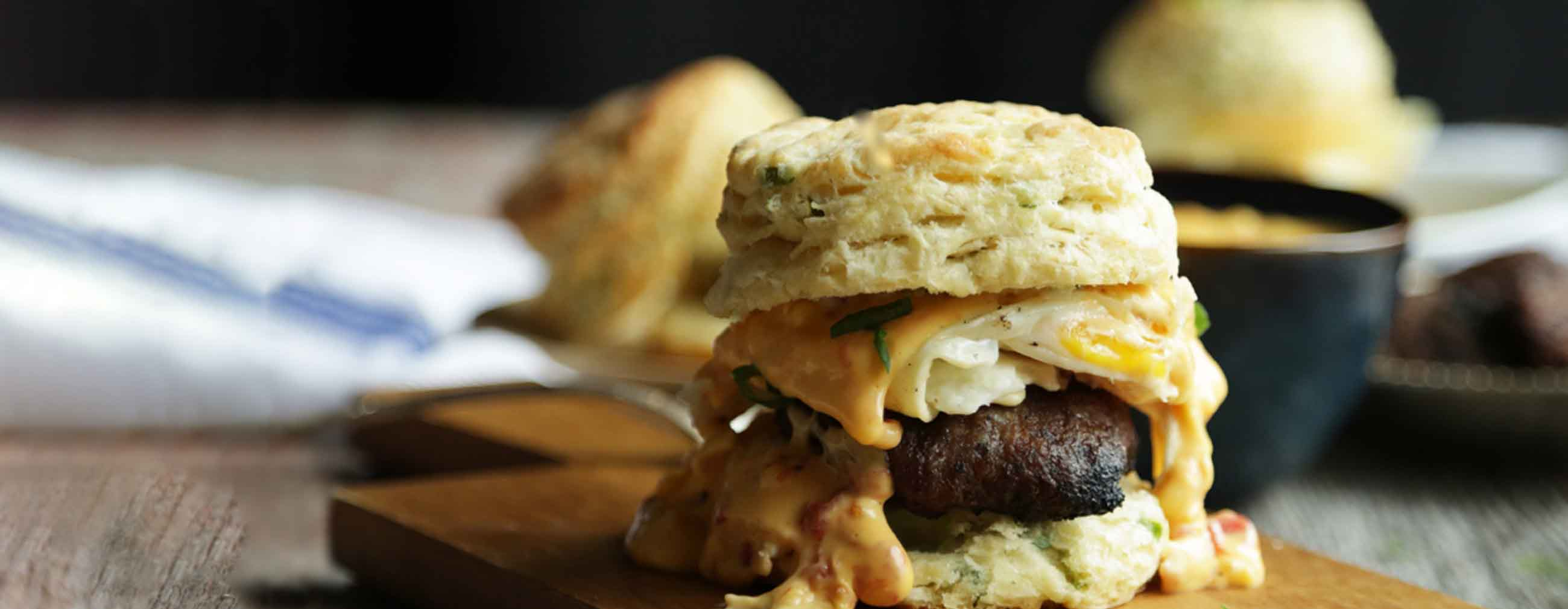 Egg, Sausage and Queso Breakfast Sandwiches