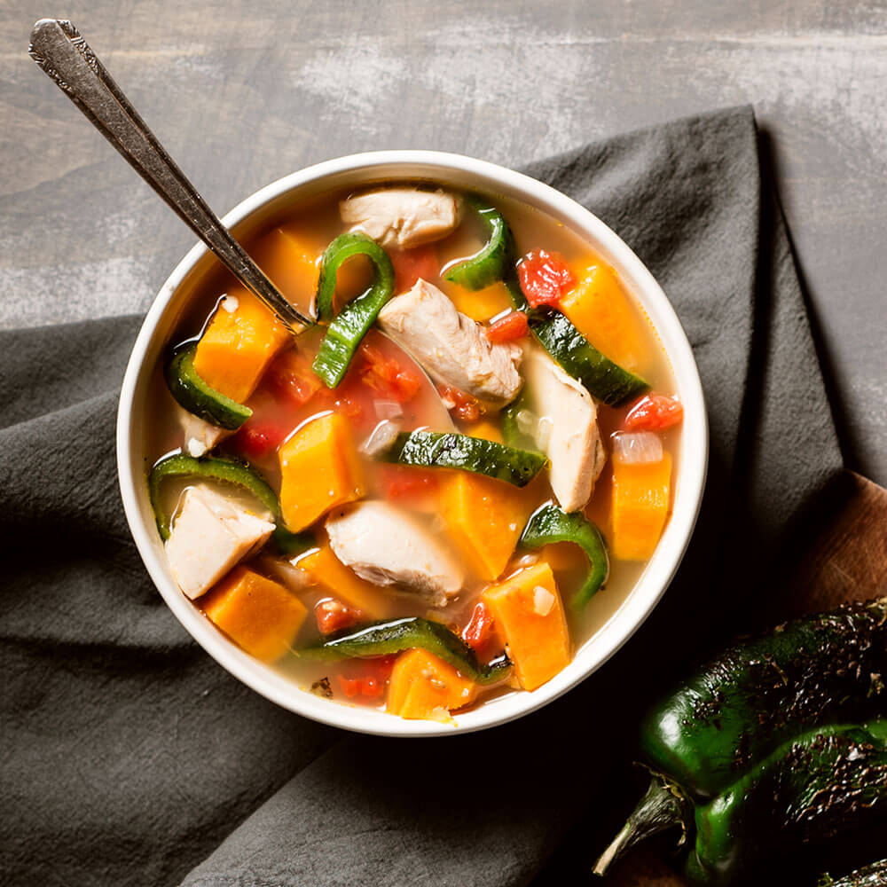 Roasted Poblano and Sweet Potato Chicken Soup