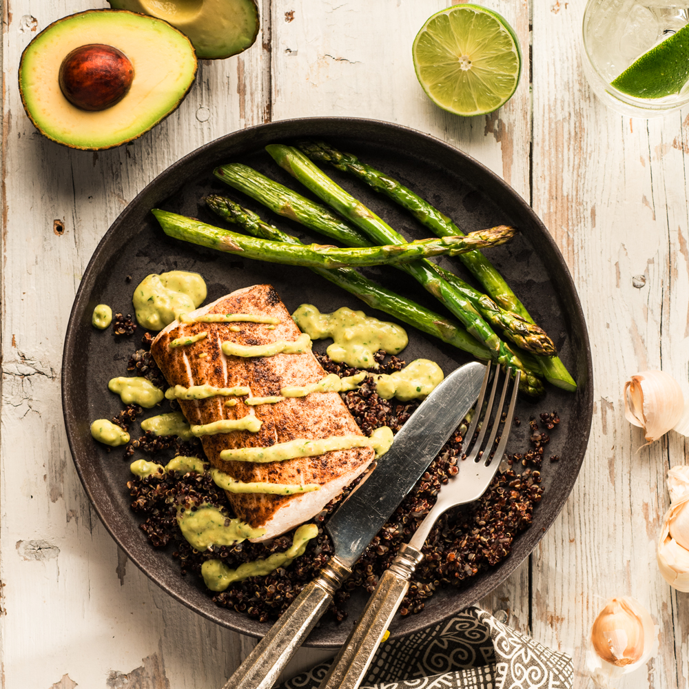 Mahi Mahi with Tomatillo-Avocado Sauce, Black Quinoa and Roasted Asparagus