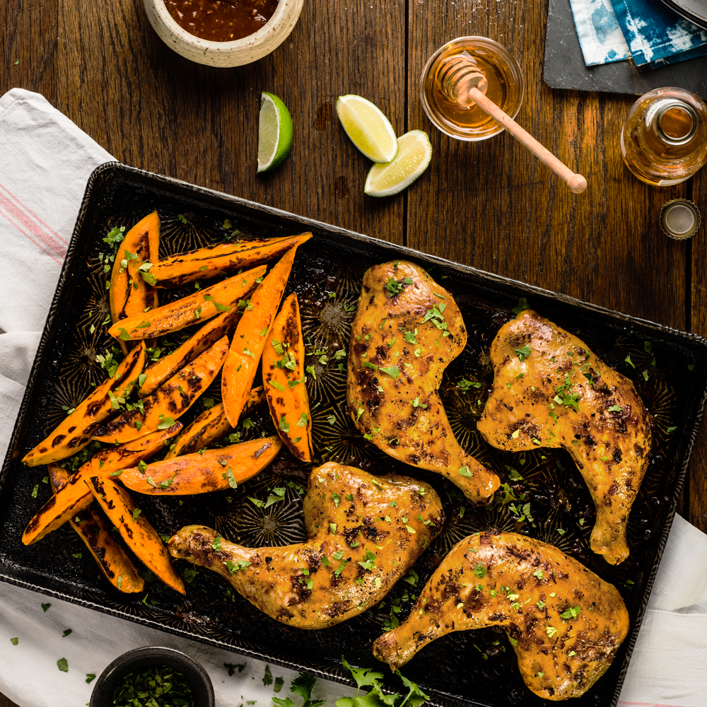 Chipotle-Glazed Chicken and Sweet Potato Sheet Pan Supper