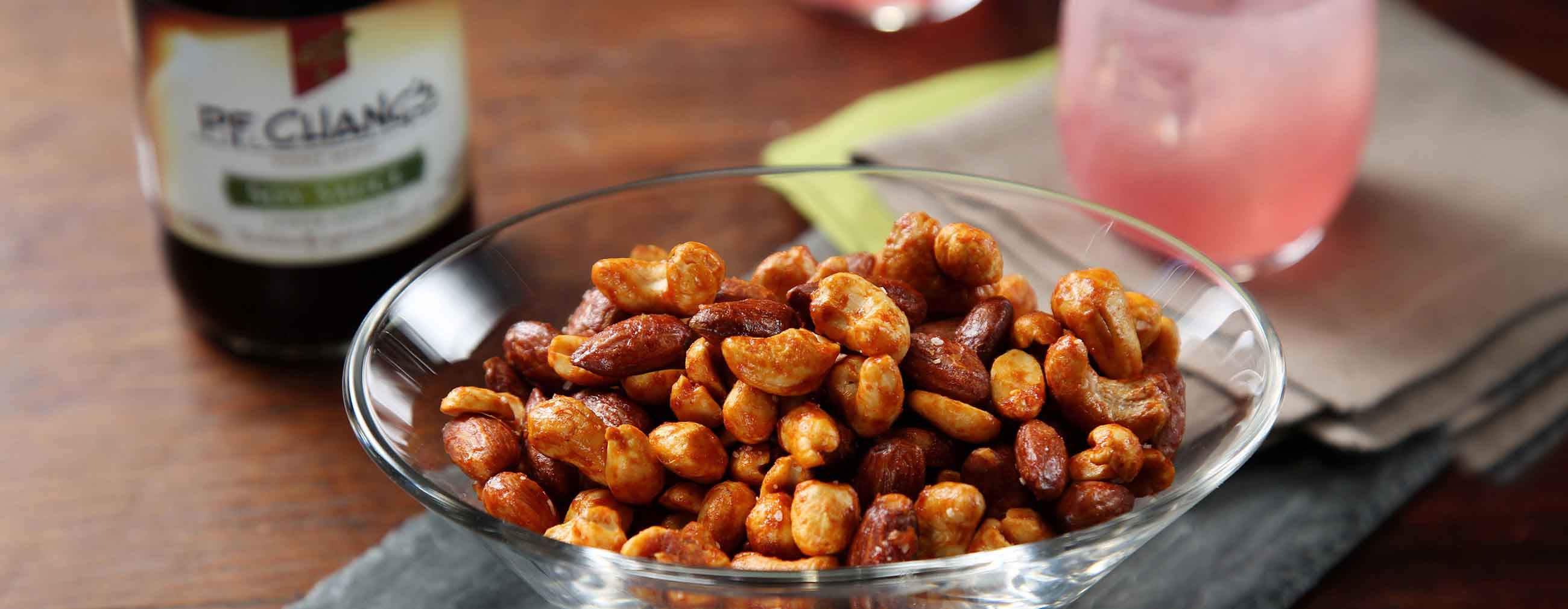 Spicy Soy-Coconut Mixed Nuts
