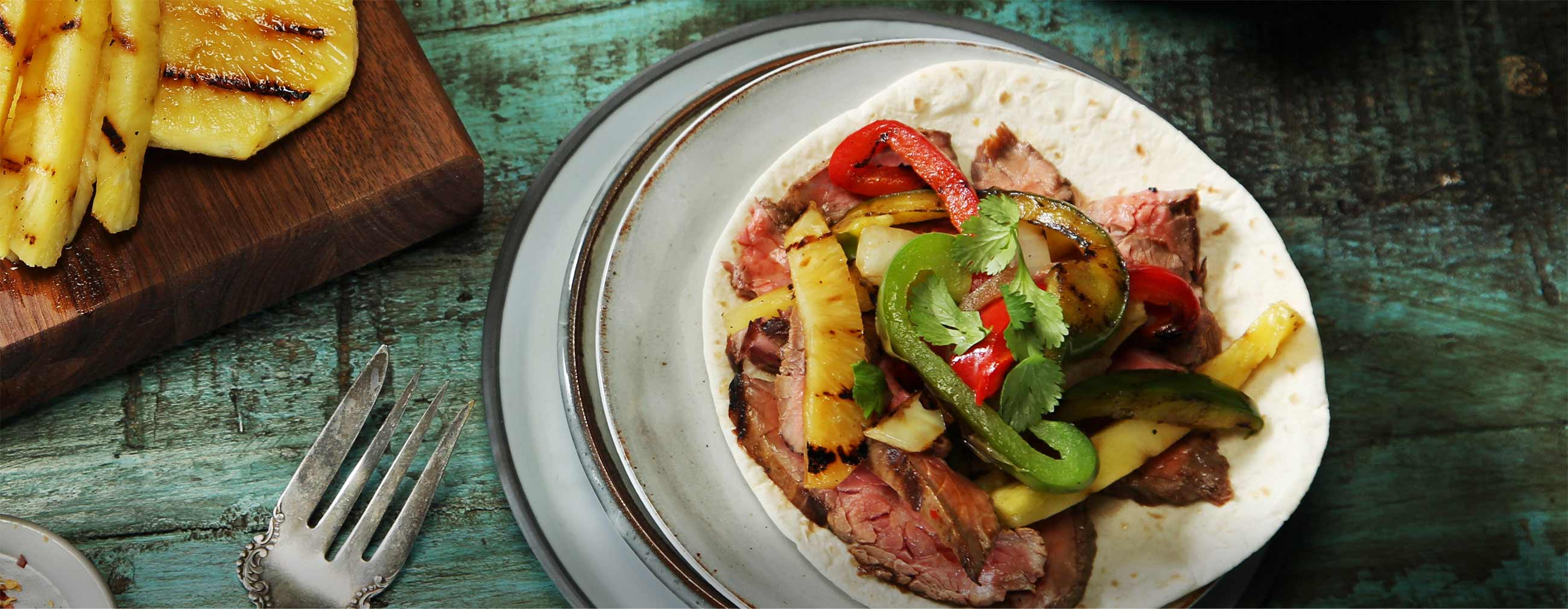 Grilled Steak and Pineapple Wraps