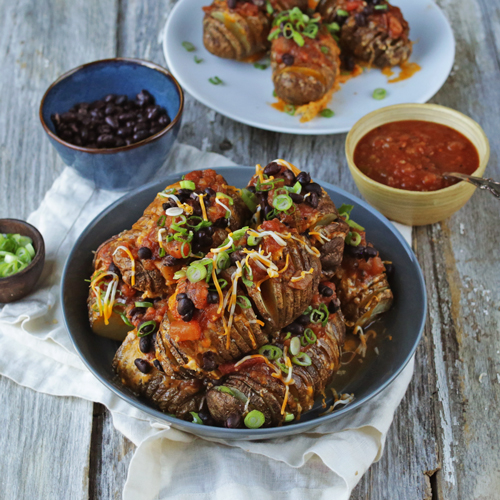Hasselback Potatoes with Salsa