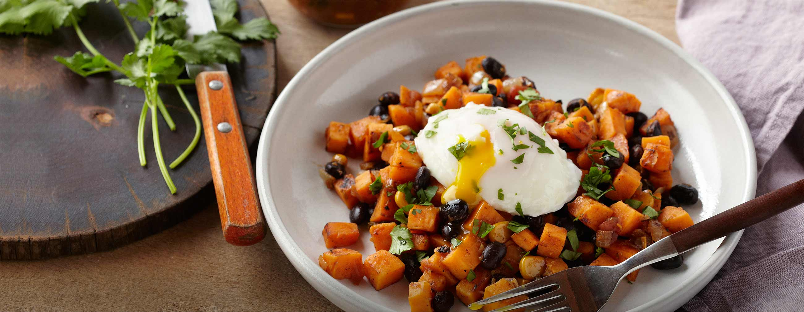Sweet Potato & Black Bean Hash with Roasted Corn Salsa