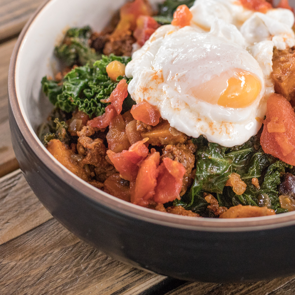 Chipotle Chorizo & Sweet Potato Hash with Poached Eggs