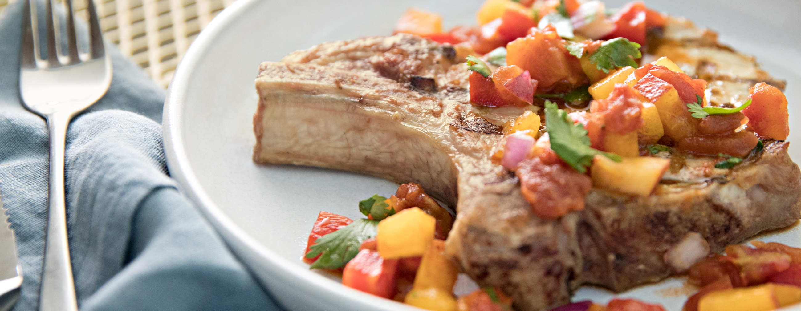 Pork Chops with Spicy Peach Salsa