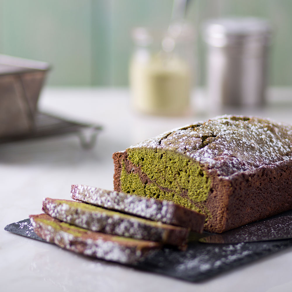 Hot Chocolate Matcha Marble Cake