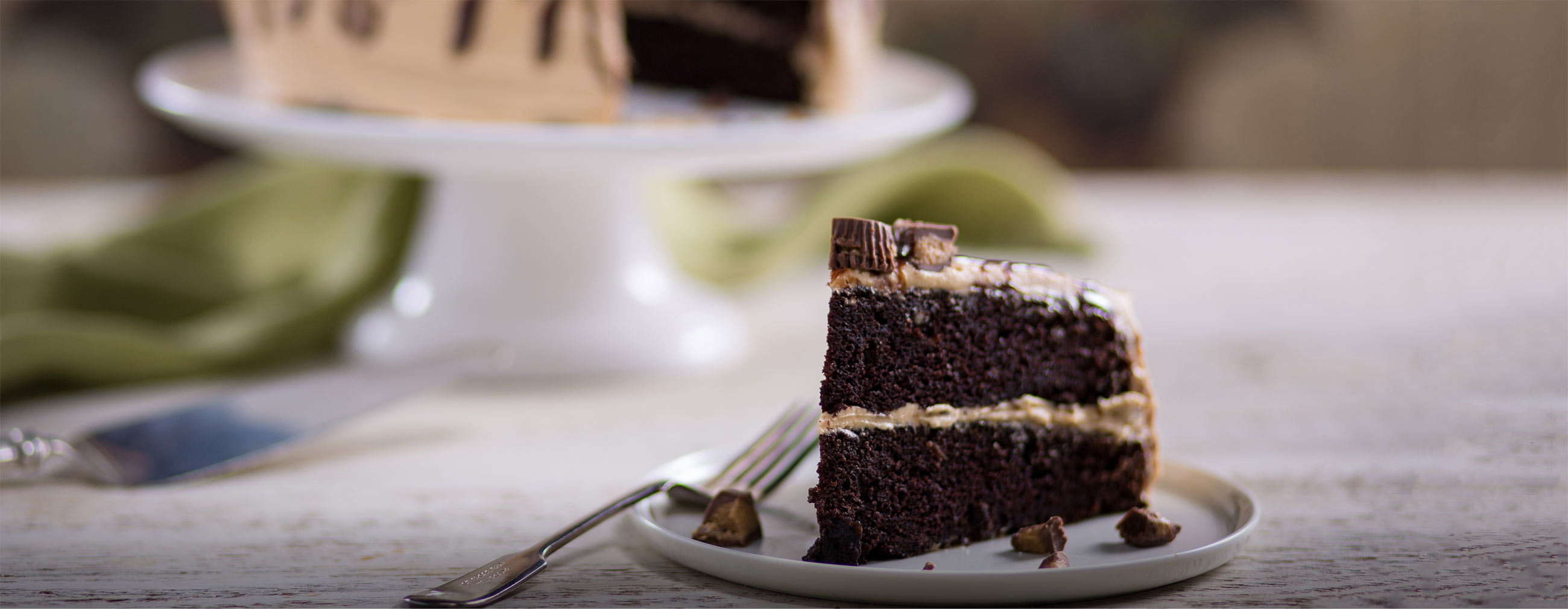 Chocolate Cake with Whipped Peanut Butter Frosting