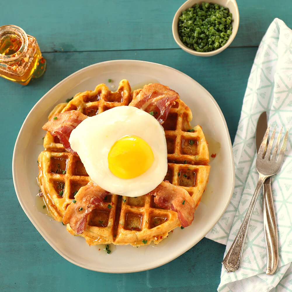Cheddar Chive Waffles with Bacon and Fried Egg