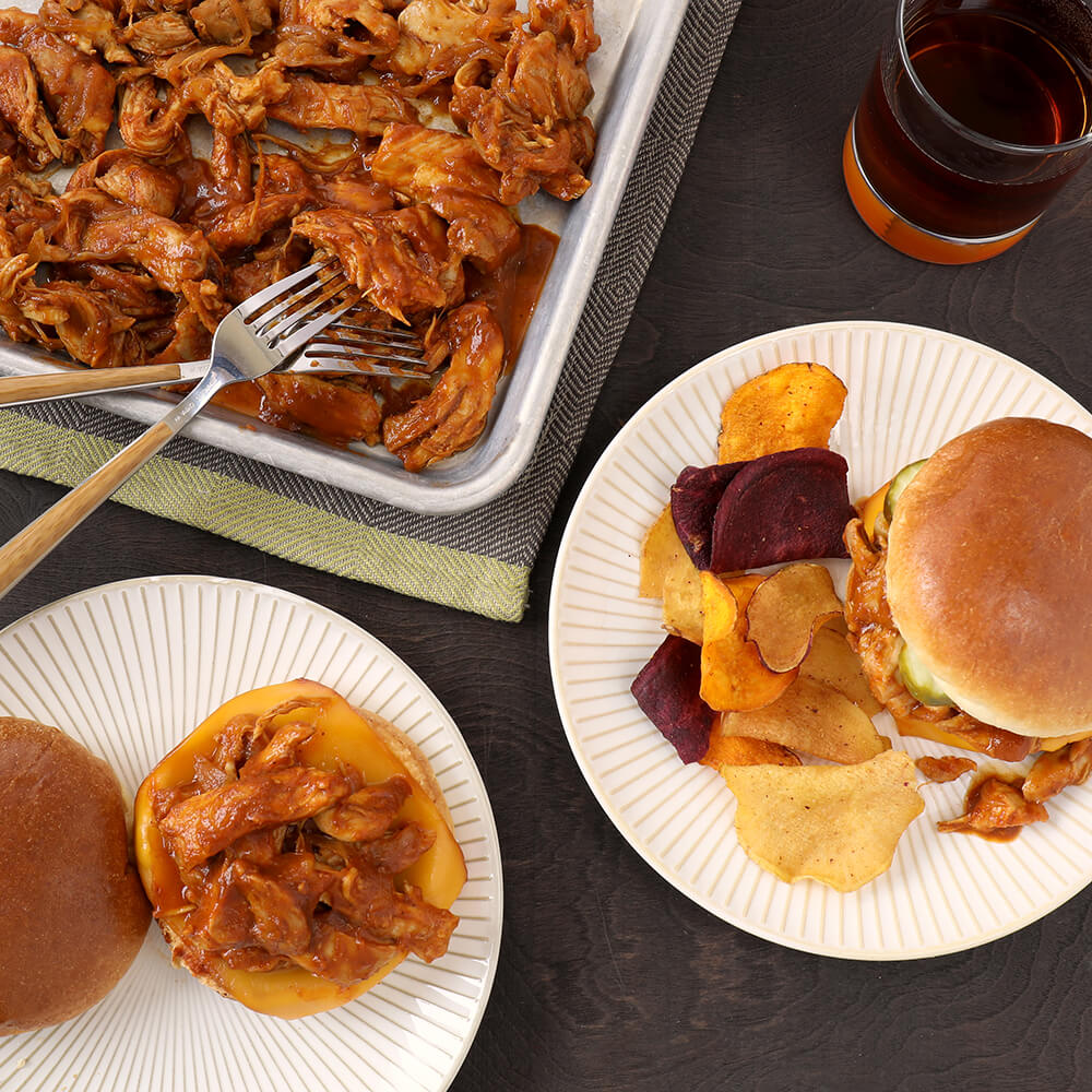 Pressure Cooker Bourbon BBQ Pulled Chicken Sandwiches
