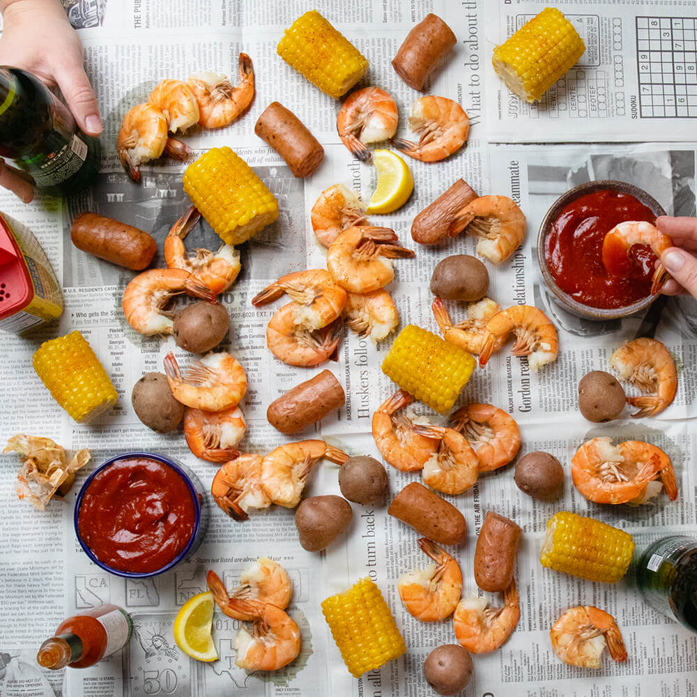 Shrimp Boil with Spicy Cocktail Sauce