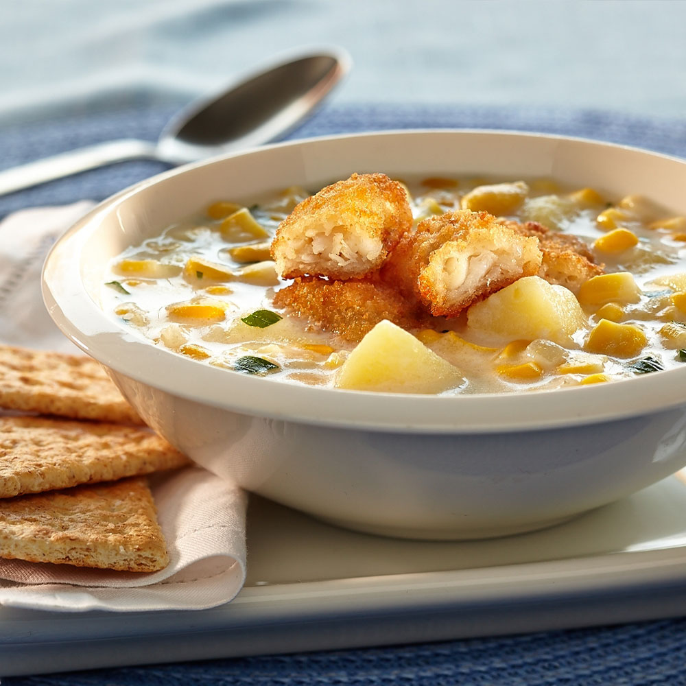 Corn & Crispy Fish Chowder