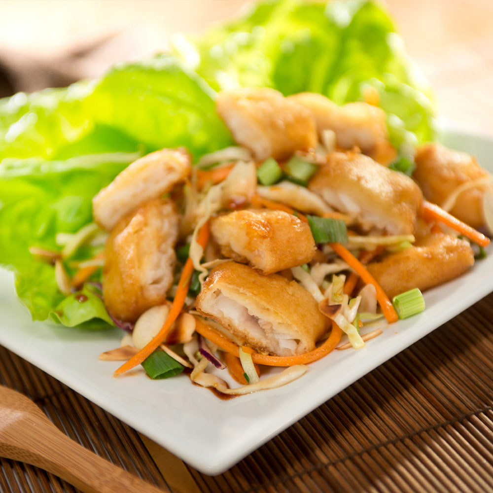 Crispy Fish Tenders Asian Lettuce Wraps