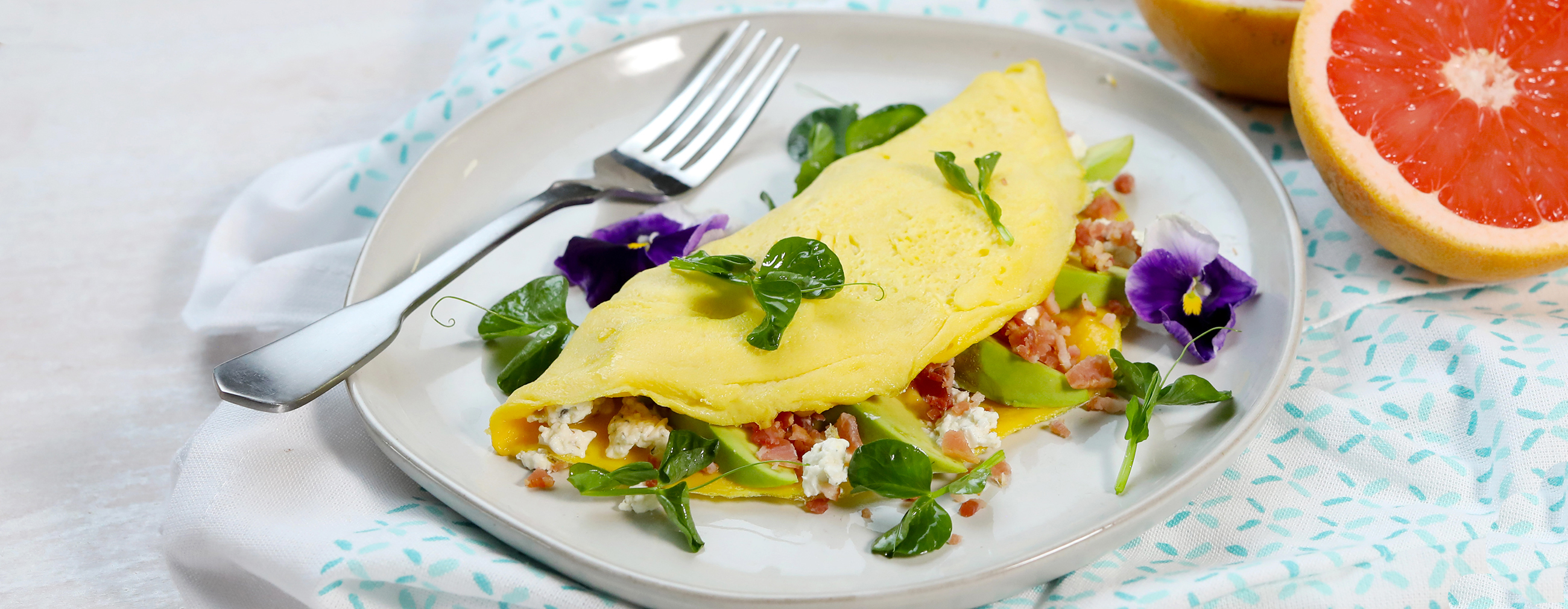 Avocado, Bacon and Goat Cheese Omelets