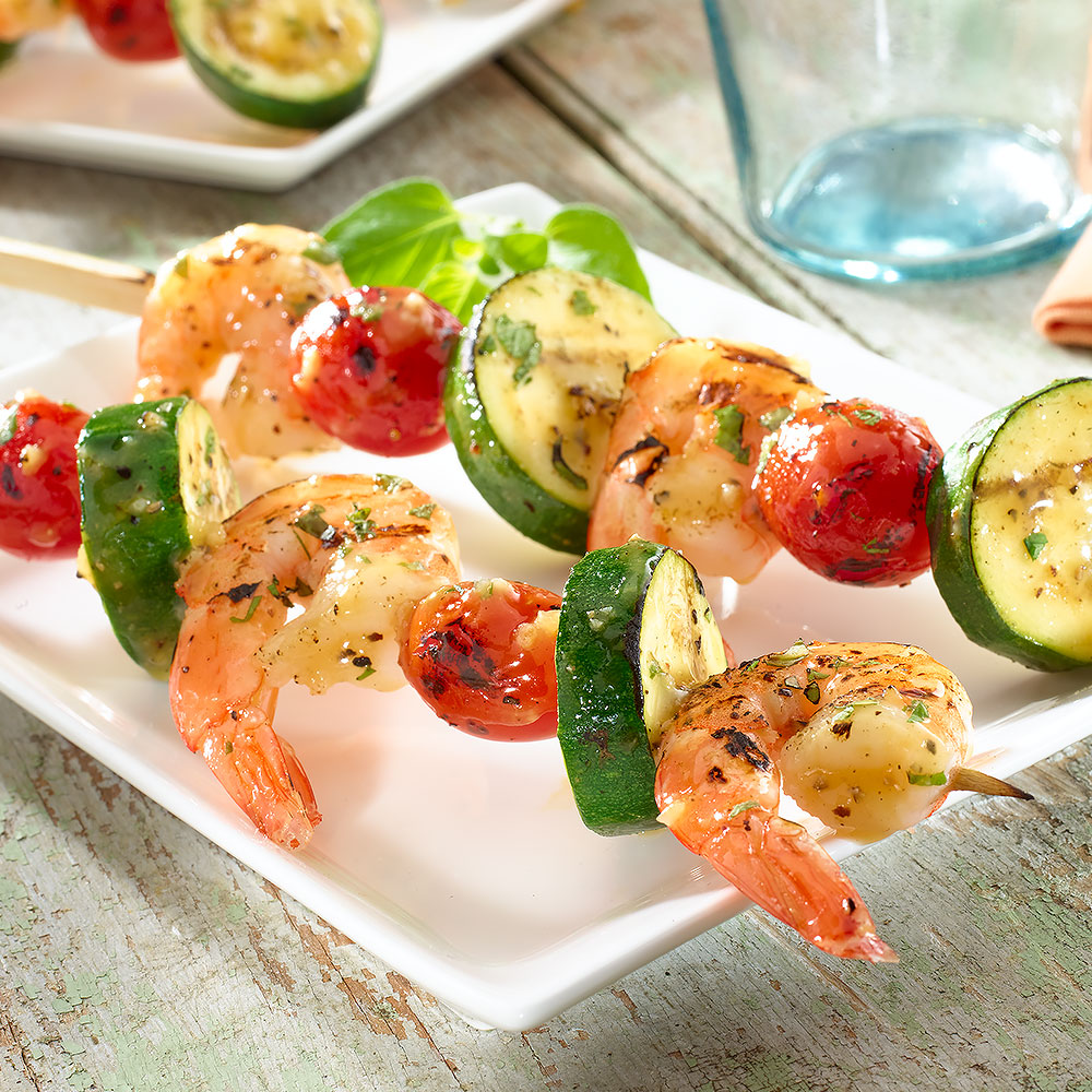 Italian Grilled Shrimp, Zucchini & Tomato Skewers