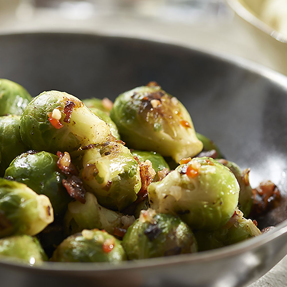 Pan Roasted Brussels Sprouts & Bacon