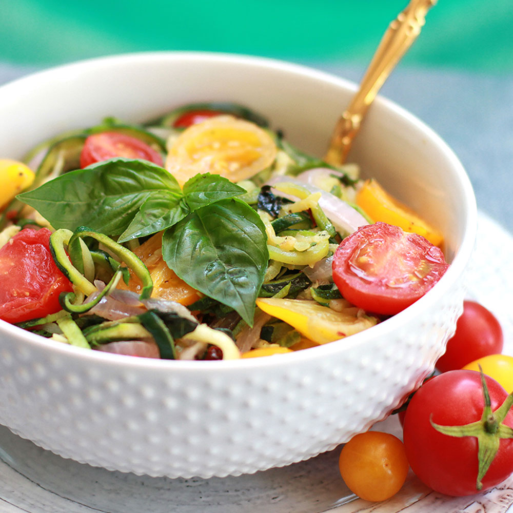 One Pot Rainbow Zoodle Pasta