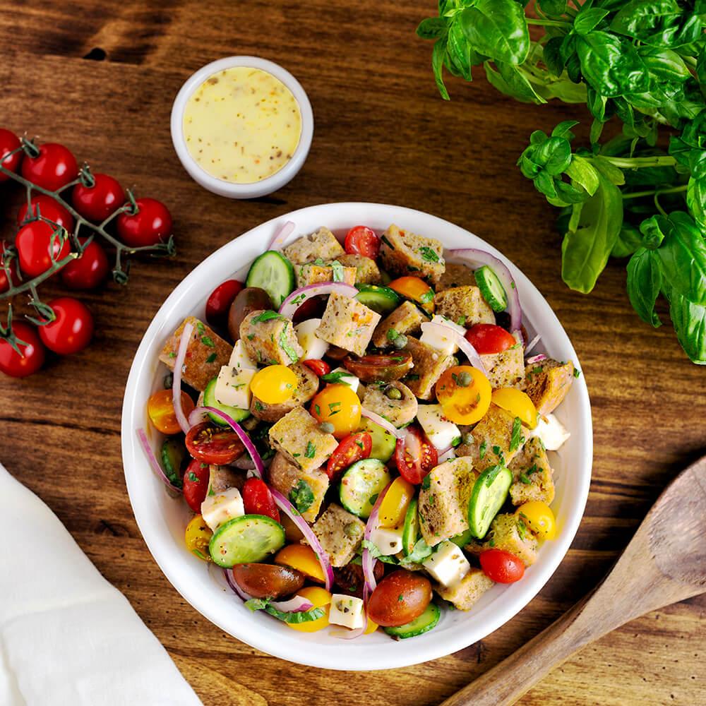 Panzanella Salad with Mozzarella