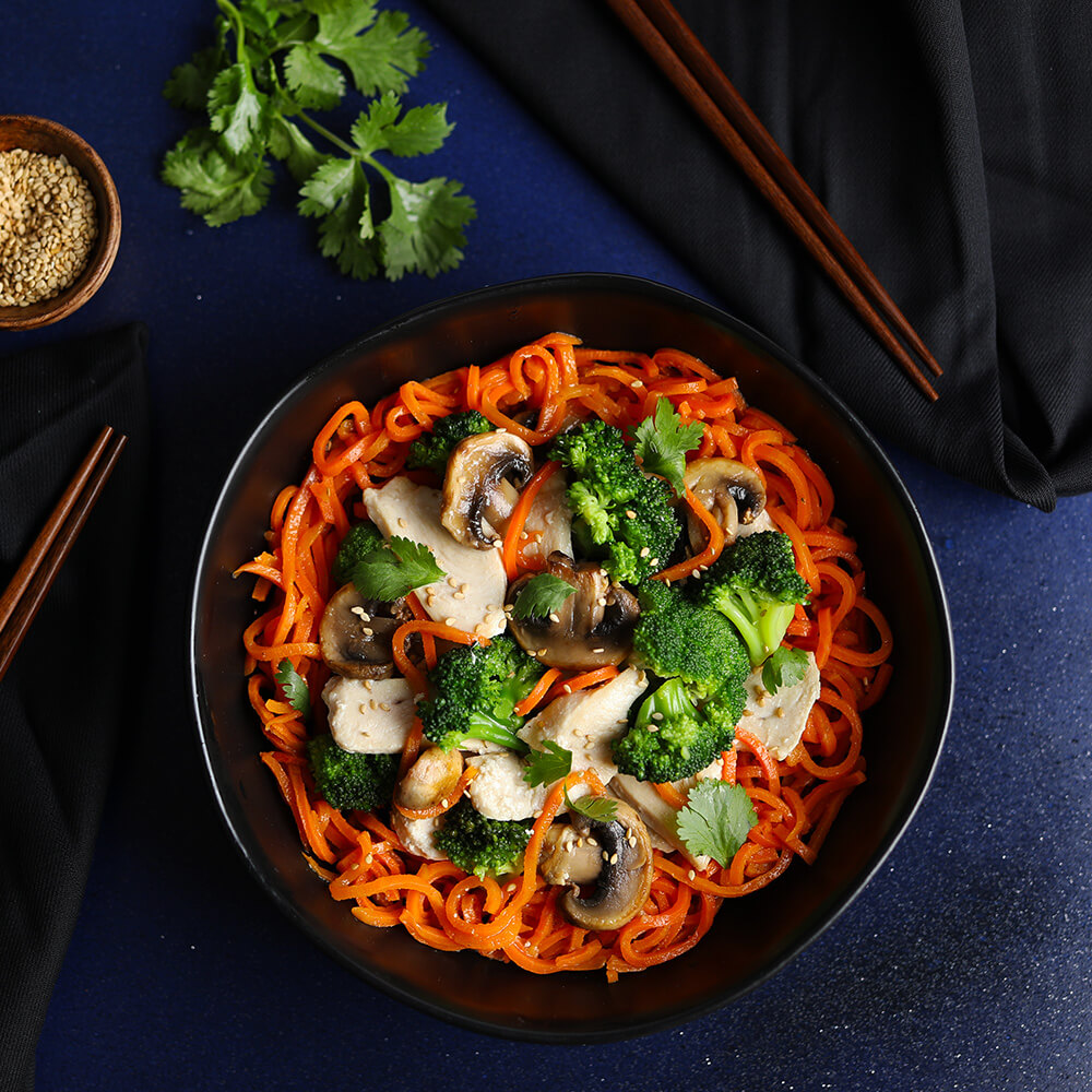 Soy Ginger Carrot Spirals with Chicken