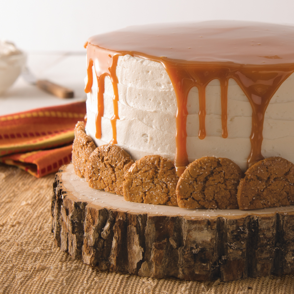 Gingersnap Spice Cake with Cream Cheese Frosting and Caramel