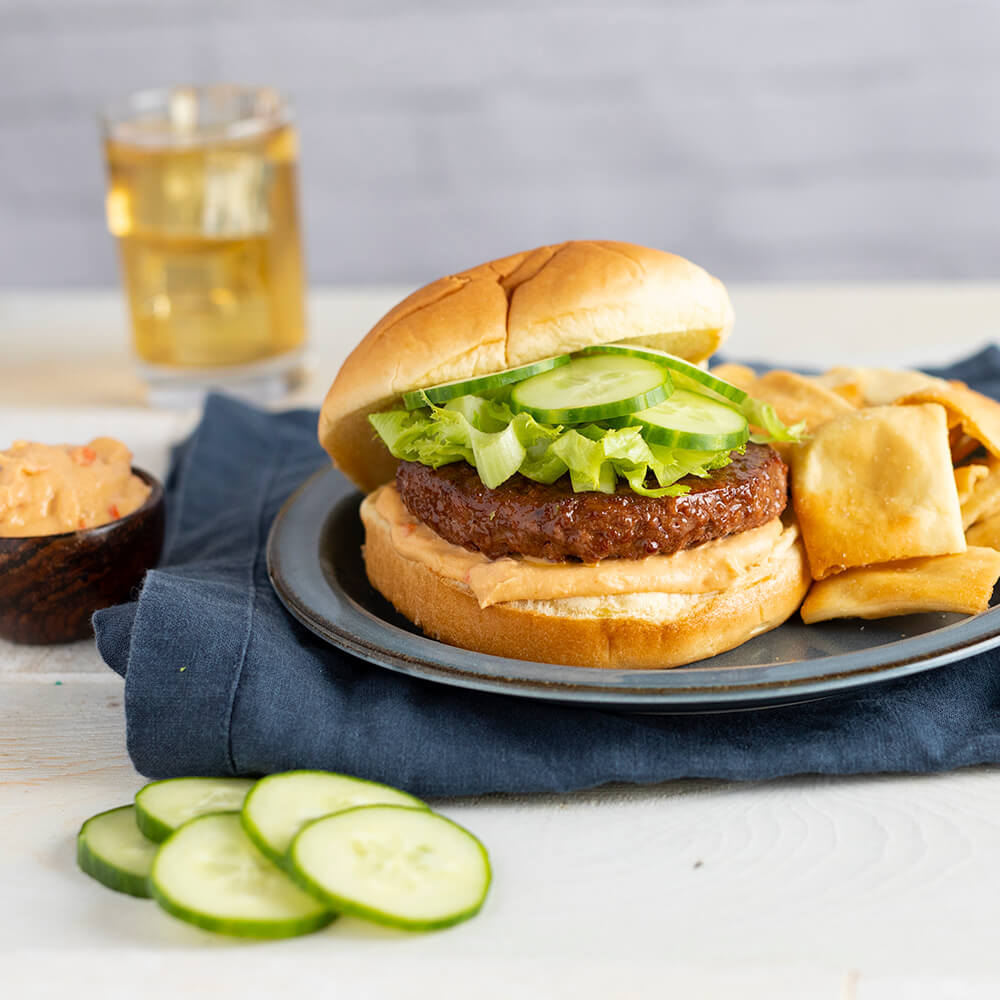 Ultimate Vegan Burger with Roasted Red Pepper Hummus