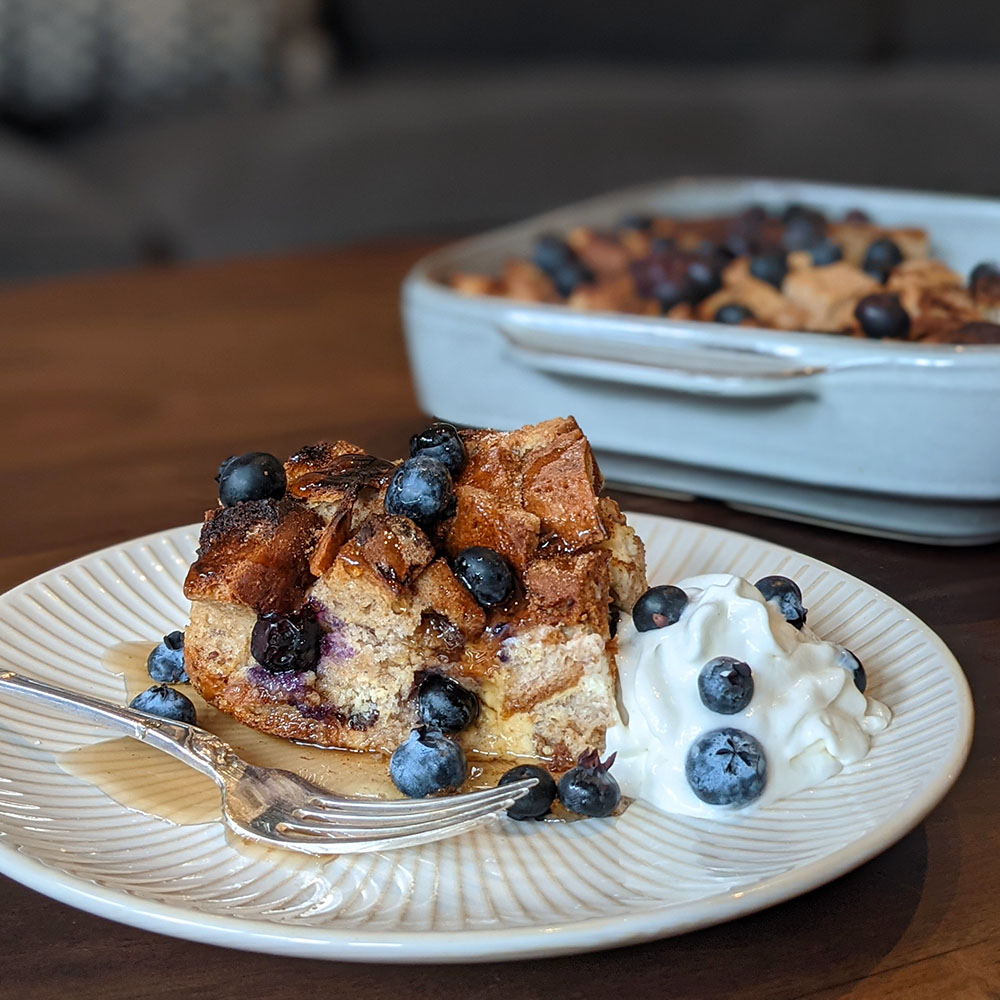Gluten Free Blueberry Cream Cheese French Toast Casserole